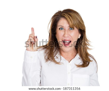 Closeup portrait intelligent excited mature woman who just came up with idea aha, pointing up, number one sign, isolated white background. Positive human emotion, facial expression feeling, attitude - stock photo