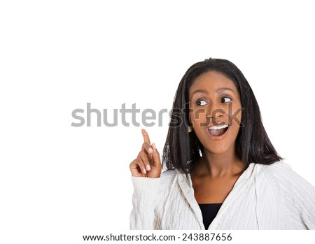 Closeup portrait intelligent excited young woman just came up with idea aha finger up isolated white background. Positive human emotion, facial expression feeling, attitude, perception, body language  - stock photo