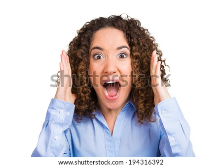 Closeup portrait, mad, angry, upset, hostile woman, worker, furious employee, yelling, screaming, arms in air, isolated white background. Negative human emotions, facial expression reaction, attitude