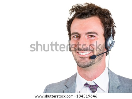 Closeup portrait, male customer service representative, smiling, happy business man, call centre worker, operator, support staff speaking with head set, isolated white background. Positive emotion