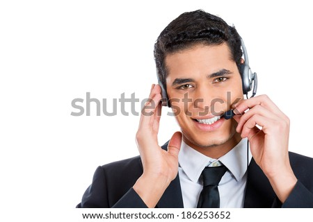 Closeup portrait, male, handsome customer service representative, call centre worker, operator, support staff speaking with head set, isolated white background. Positive human communication - stock photo