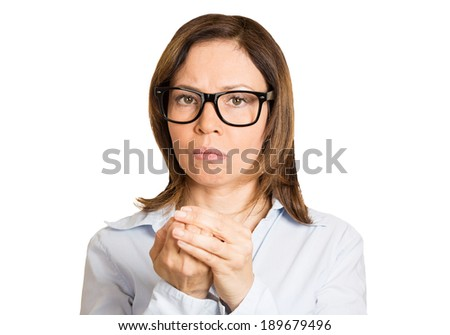 Closeup portrait, mentally ill mature nerd woman with big black glasses playing with hands and nails obsessing of germs, isolated white background. Negative human emotion facial expression, feelings - stock photo