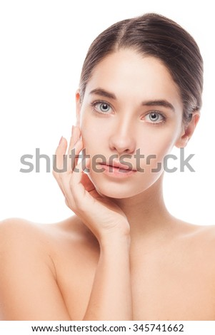 closeup portrait of a beautiful female model with her hands near face - isolated on white background