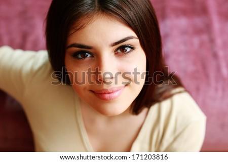 Closeup portrait of a beautiful happy woman - stock photo