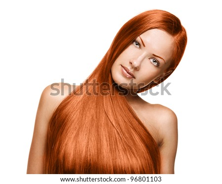 closeup portrait of a beautiful model woman with healthy long hair - stock photo