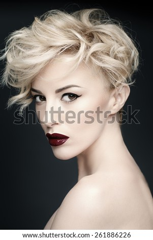 closeup portrait of a beautiful woman with beauty face and clean face skin - stock photo