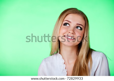 Closeup portrait of a beautiful young lady giving surprised look - stock photo