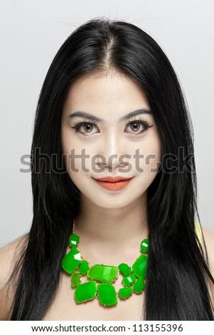 closeup portrait of a beautiful young woman - stock photo