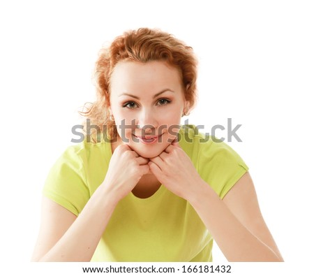 Closeup portrait of a beautiful young woman, her hand touching her chin - stock photo