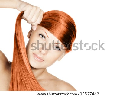 closeup portrait of a beautiful young woman holding her elegant long red shiny hair , hairstyle , healthy straight hair , isolated on white background
