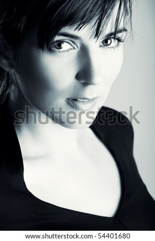 Closeup portrait of a beautiful young woman with a gorgeous face and great eyes