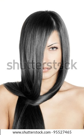 closeup portrait of a beautiful young woman with elegant long black shiny hair , hairstyle , isolated on white background , healthy straight hair - stock photo