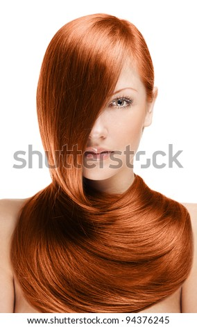 closeup portrait of a beautiful young woman with elegant long red shiny hair , hairstyle , isolated on white background , healthy straight  hair - stock photo