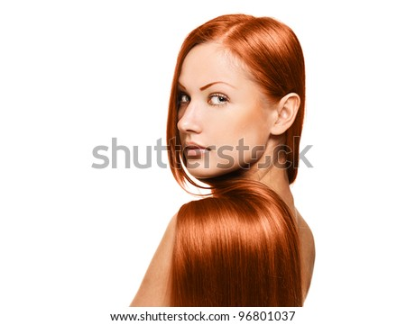 closeup portrait of a beautiful young woman with elegant long red shiny hair , hairstyle , isolated on white background - stock photo