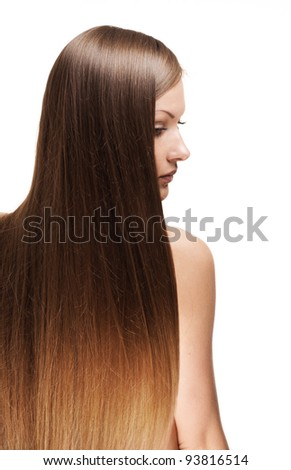 closeup portrait of a beautiful young woman with elegant long shiny hair from back , hairstyle , isolated on white background