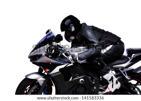closeup portrait of a biker riding his bike on white background side view - stock photo