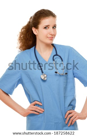 Closeup portrait of a female doctor with stethoscope, isolated on white background - stock photo