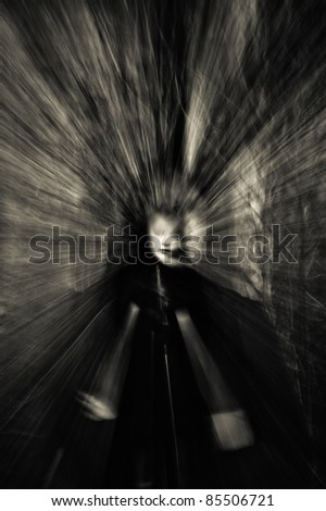 Closeup portrait of a ghost girl - stock photo