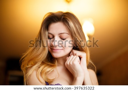 Closeup portrait of a girl with beautiful hair - stock photo