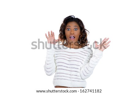 Closeup portrait of a happy cute young beautiful woman looking shocked surprised in full disbelief arms in air palms up, isolated on white background. Positive human emotions and facial expressions - stock photo