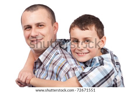 Closeup portrait of a happy father and son, isolated on white background - stock photo