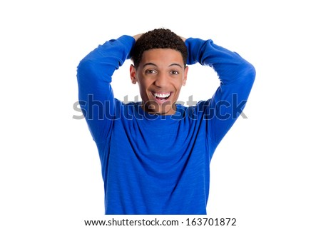 Closeup portrait of a happy young smiling handsome man looking shocked and surprised in full disbelief hands arms behind head, isolated on white background. Positive human emotion facial expression - stock photo