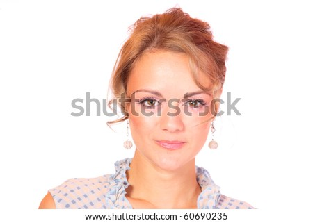 Closeup portrait of a happy young woman isolated on white background