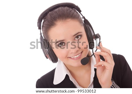 Closeup portrait of a happy young woman wearing headphones on a white background - stock photo