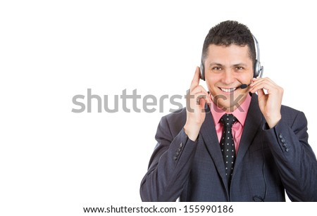 Closeup portrait of a helpful male customer service representative or call center agent, support operator with headset, isolated on a white background. Businesspeople, corporate life and career.  - stock photo