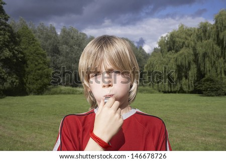Closeup portrait of a little boy blowing whistle in meadow - stock photo