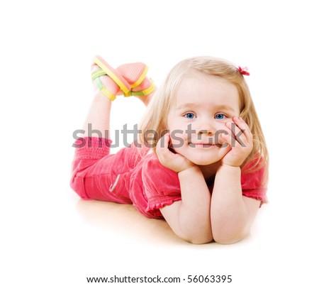 Closeup portrait of a little girl - stock photo