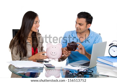 Closeup portrait of a man showing his woman an empty wallet, being broke and poor, isolated on white background. FInancial difficulties, job loss, mortgage payment problem. family conflict - stock photo