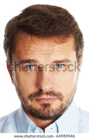 Closeup portrait of a mature handsome businessman with blue eyes, isolated over white background - stock photo
