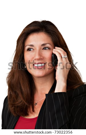 Closeup portrait of a mature pretty businesswoman talking on a cell phone.   Isolated on a white background. - stock photo