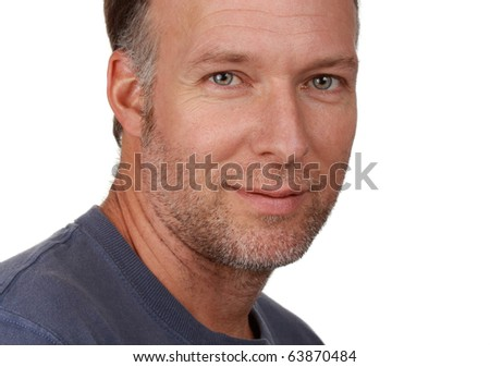 closeup portrait of a nice looking middle age man, white background - stock photo