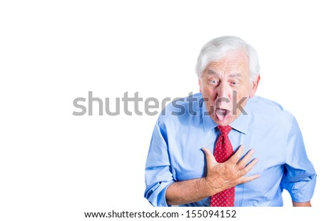 Closeup portrait of a senior man, corporate employee,  about to throw up and vomit, isolated on white background with copy space. Bad, conflict situation or stomach upset. - stock photo