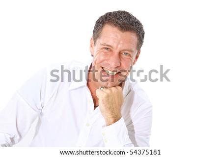 Closeup portrait of a  senior man smiling on white background - stock photo