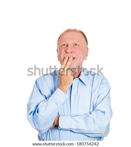 Closeup portrait of a senior mature man daydreaming about something that makes him happy, looking up, life memories of the past, isolated white background. Positive emotion facial expression feelings. - stock photo