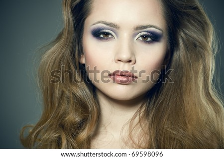 Closeup portrait of a sexy young woman - stock photo