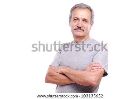 Closeup portrait of a smiling active senior man - stock photo