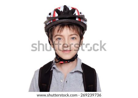 closeup portrait of a smiling boy cyclist - stock photo