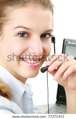 Closeup portrait of a smiling customer service girl