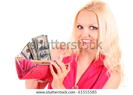 Closeup portrait of a smiling young beautiful woman showing cash  on white background
