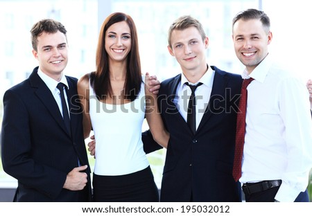 Closeup portrait of a successful business team laughing together  - stock photo