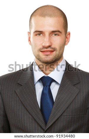 Closeup portrait of a successful businessman, isolated on white background - stock photo