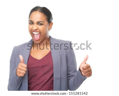 Closeup portrait of a successful young woman with thumbs up gesture - stock photo