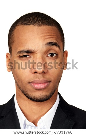 Closeup portrait of a young african-american businessman isolated on white background