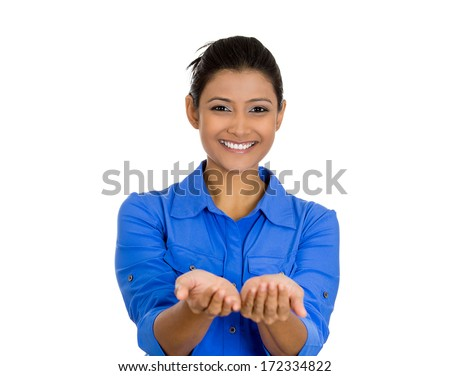 Closeup portrait of a young beautiful smiling, happy excited woman with raised up palms arms at you offering something, isolated over white background. Positive emotion facial expression signs symbols - stock photo