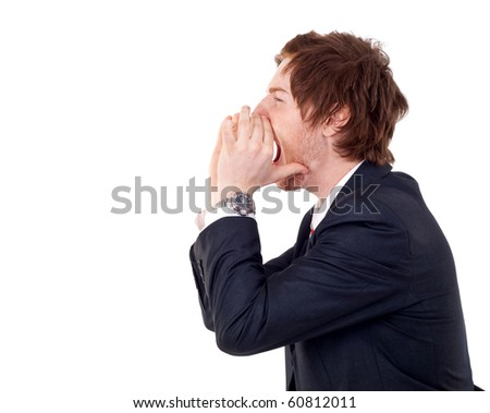 Closeup portrait of a young man screaming out loud on a white background - stock photo