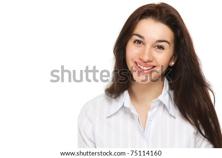 Closeup portrait of a young woman - stock photo
